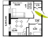 1-комнатная квартира 42.32 кв. м