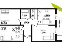 3-комнатная квартира 79.76 кв. м