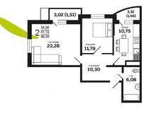 2-комнатная квартира 64.36 кв. м
