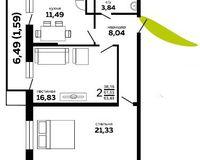 2-комнатная квартира 63.48 кв. м