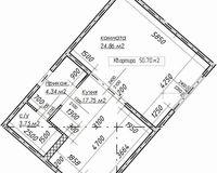 1-комнатная квартира 50.7 кв. м